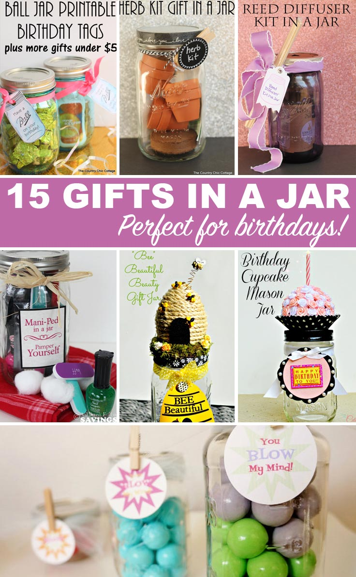 Get 15 ideas for brithday gifts in a jar here!