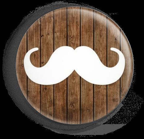 Chapa bigotes fondo madera