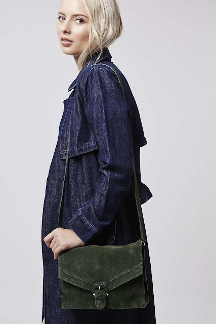 green suede handbag, topshop green suede bag, 70s suede bag,