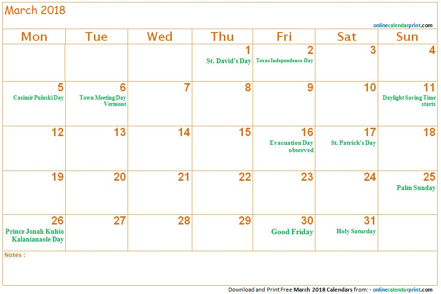 2018 calendar templates with holidays