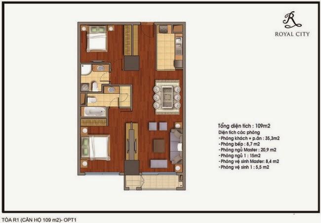 mặt bằng căn hộ diện tích 109m2 chung cư Royal City  tòa R1