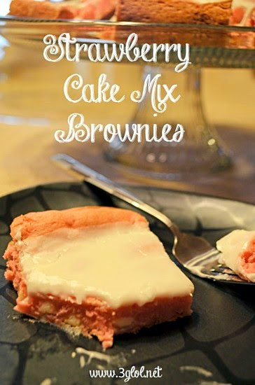 Strawberry Cake Mix Brownies @ Three Generations Living Out Loud aka 3GLOL