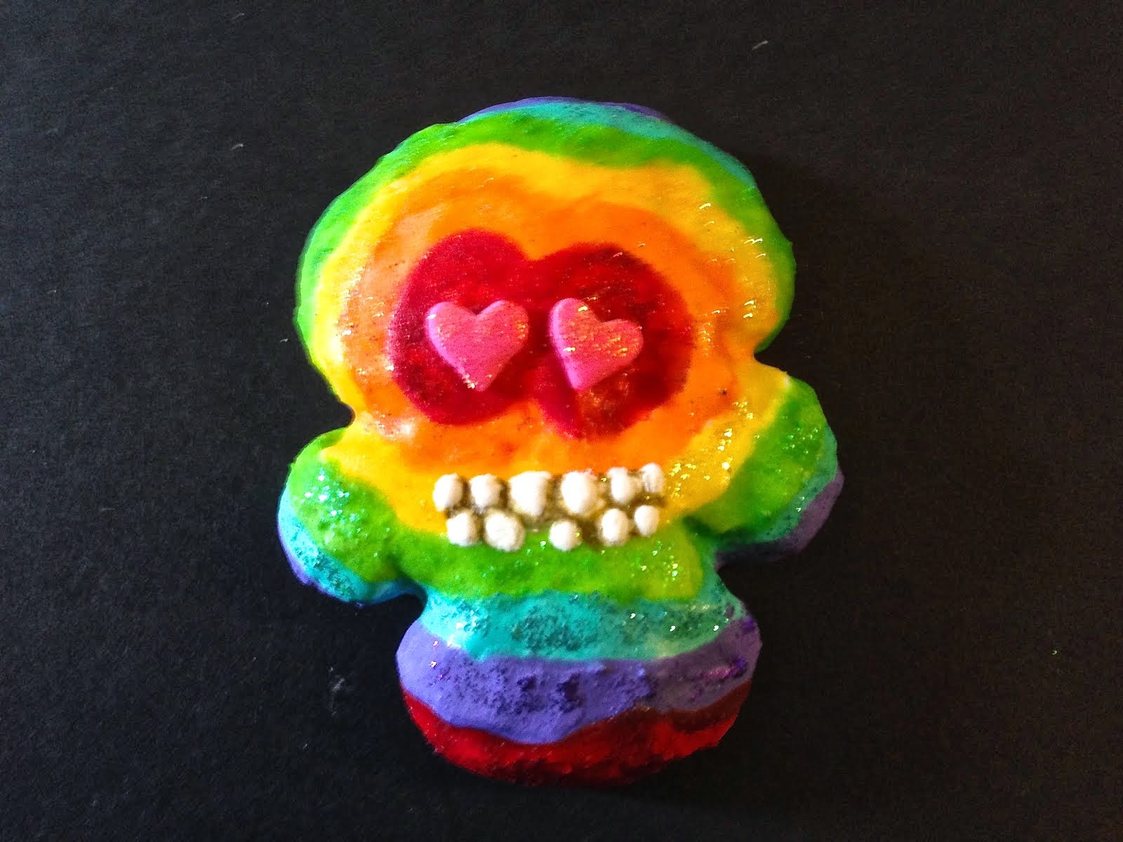 Rainbow Tie-Dye Skull Cookie