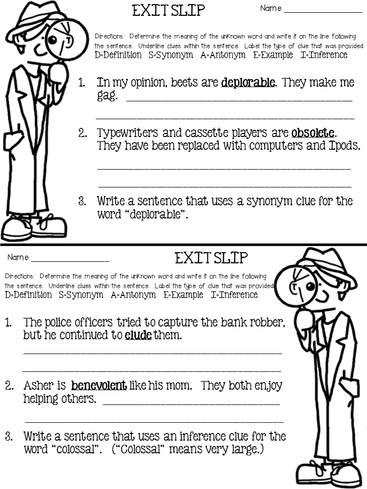 context clues exit ticket is FREE! Being able to use context clues ...