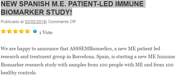 NEW SPANISH M.E. PATIENT-LED IMMUNE BIOMARKER STUDY!