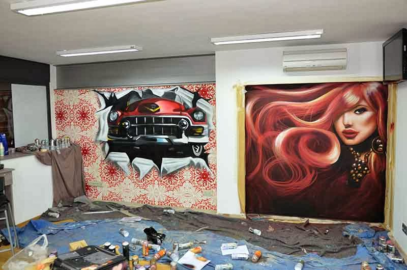 Berok graffiti mural profesional en barcelona decoraci n for Decoracion en peluquerias