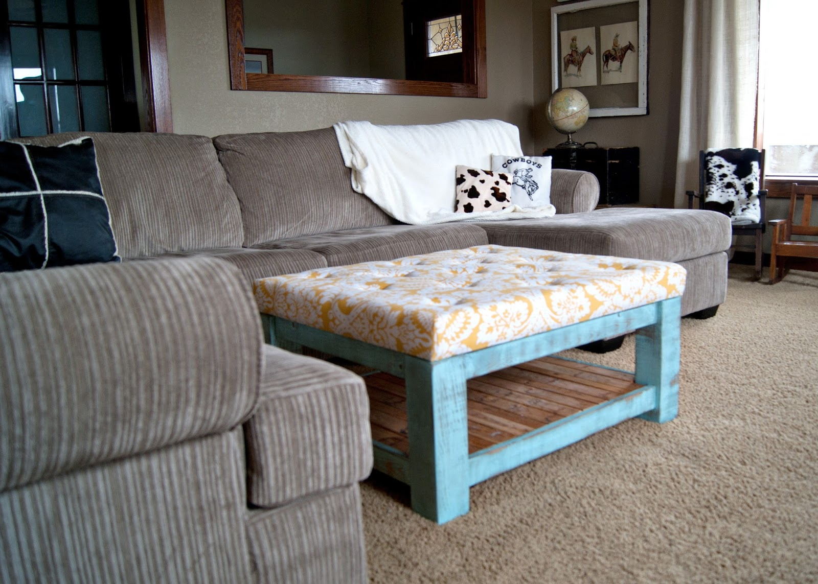 tufted ottoman using Kreg Jig