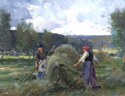 Deux femmes faisant les foins devant une meule