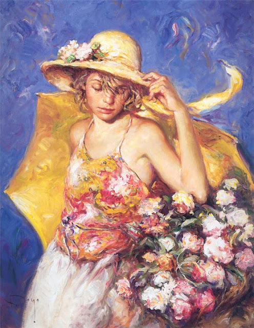 yellow umbrella, Jose Royo, Impressionism