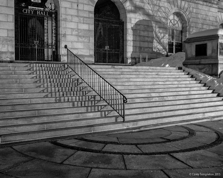 Portland, Maine City Hall February 2015 shadows on steps black and white photo by Corey Templeton
