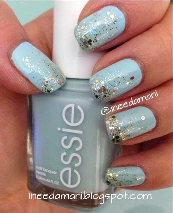 essie mint candy apple gold glitter gradient nails