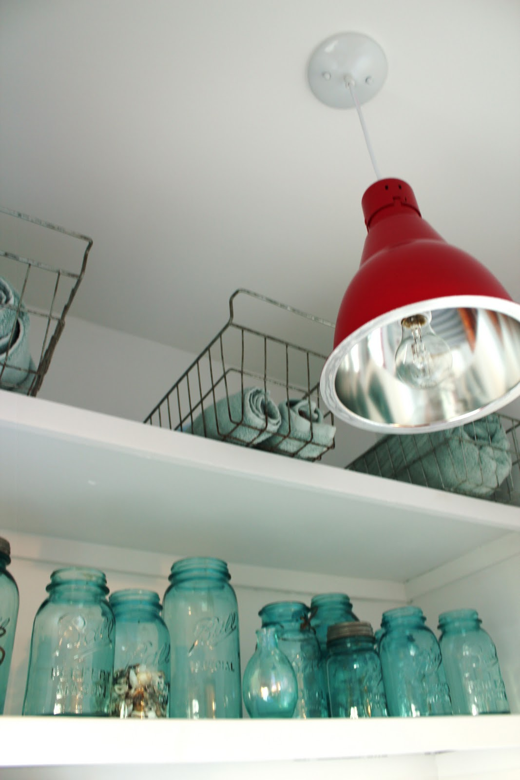 west elm, industrial, pendant lights, salvaged, red pendant light, industrail hanging lighting, bathroom lights