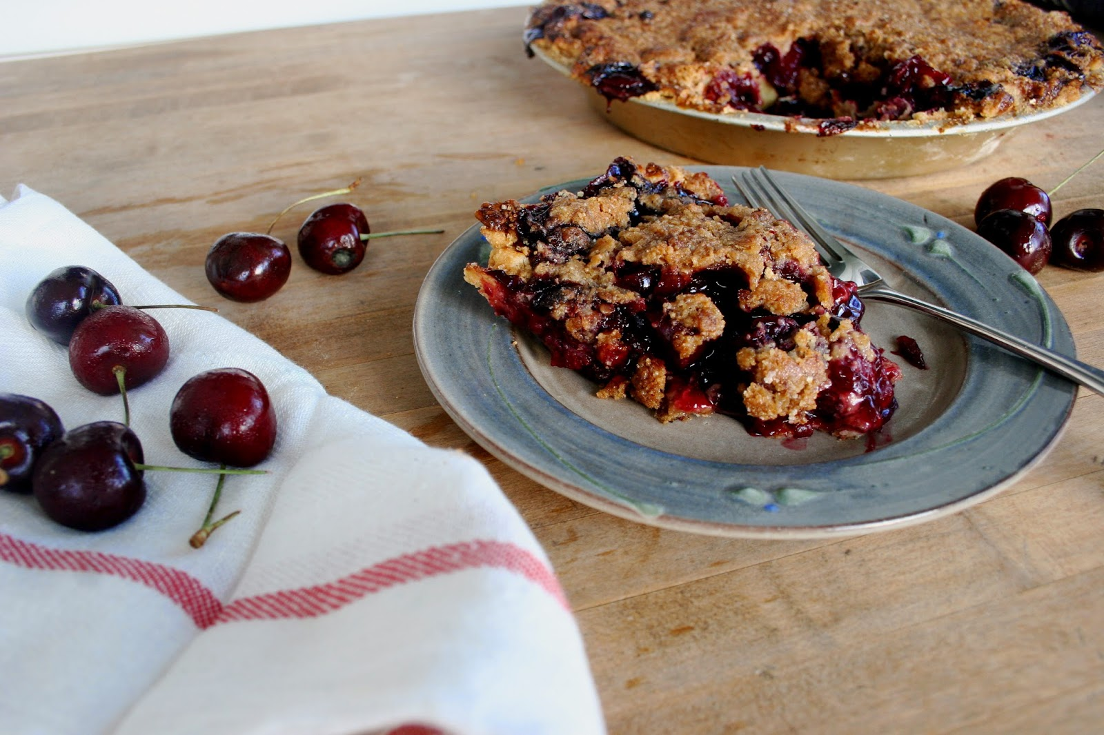 Sweet Cherry Pie with Cornmeal Streusel Slice