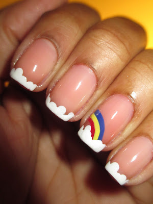 cutepolish, tutorial, rainbow, clouds, french, frenchie, nails, nail art, nail design, mani