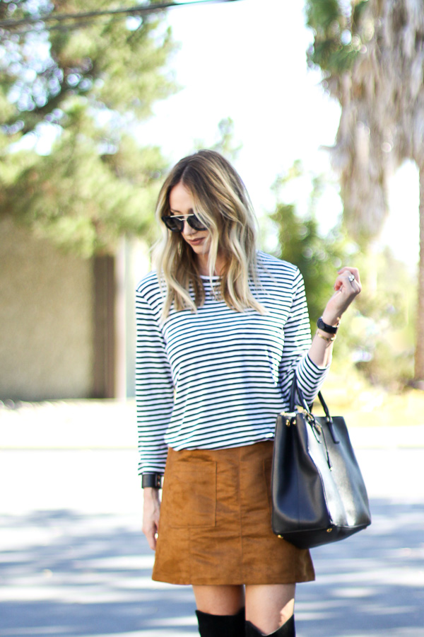 black and white striped tunic top