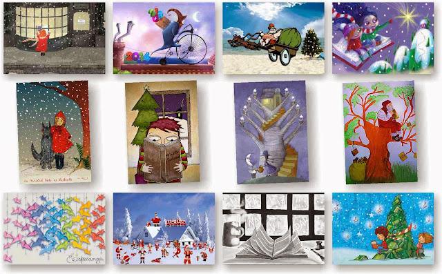 Postales, navidad, ilustradores