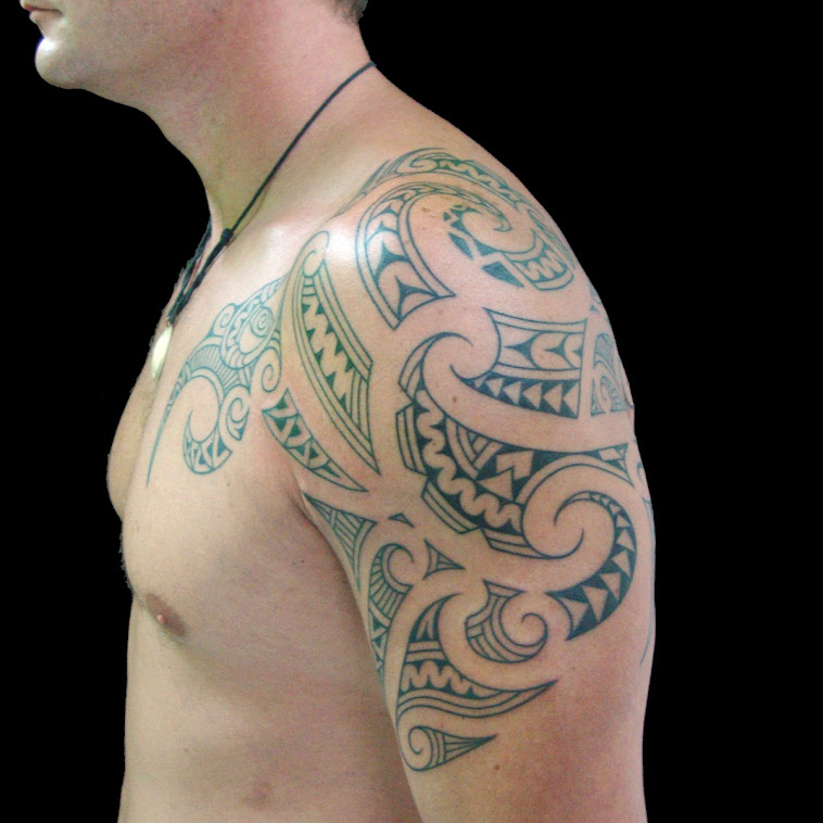 maori inspired tattoo half sleeve