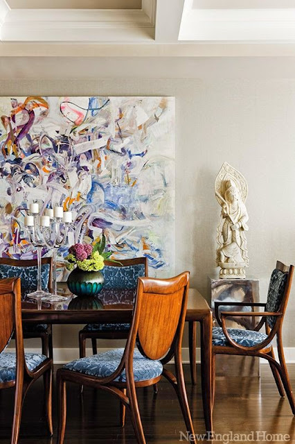 New England home eclectic mix in dining room