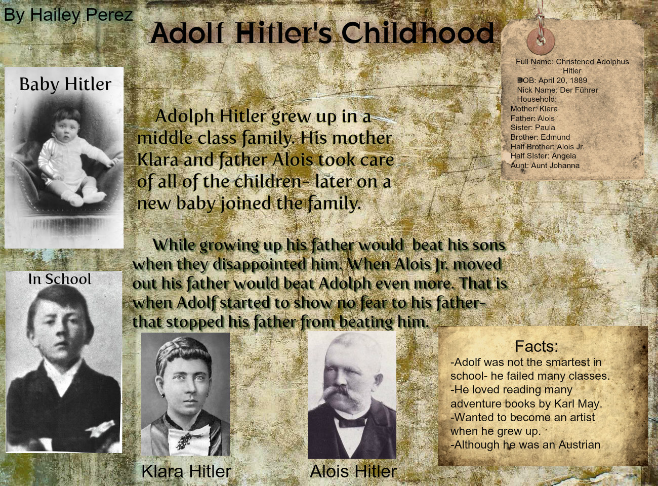 the life and early childhood of adolf hitler Four of their six children, hitler's siblings, gustav, ida, otto, and edmund, all died within early childhood adolf, the fourth, survived, along with paula adolf and paula never had children.