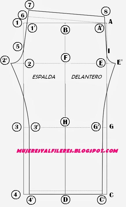 Mujeres y alfileres: Trazado base de calza y base T. 44 para imprimir