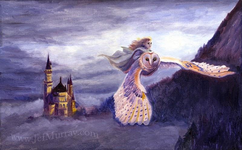 Girl riding on back of flying owl