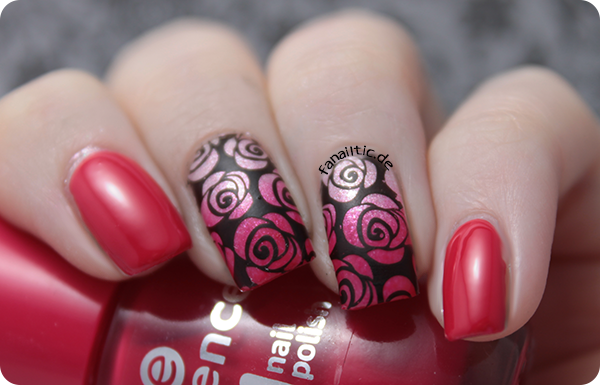 """essence """"the gel polish"""" """"4 ever young"""" + """"our sweetest day"""" gradient + """"stamp me! black"""" MoYou London stamping"""