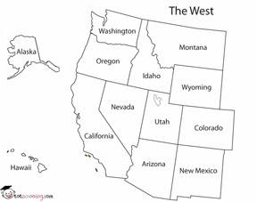 Western United States Public Domain Maps By PAT The Free Open Map - Blank map of western us