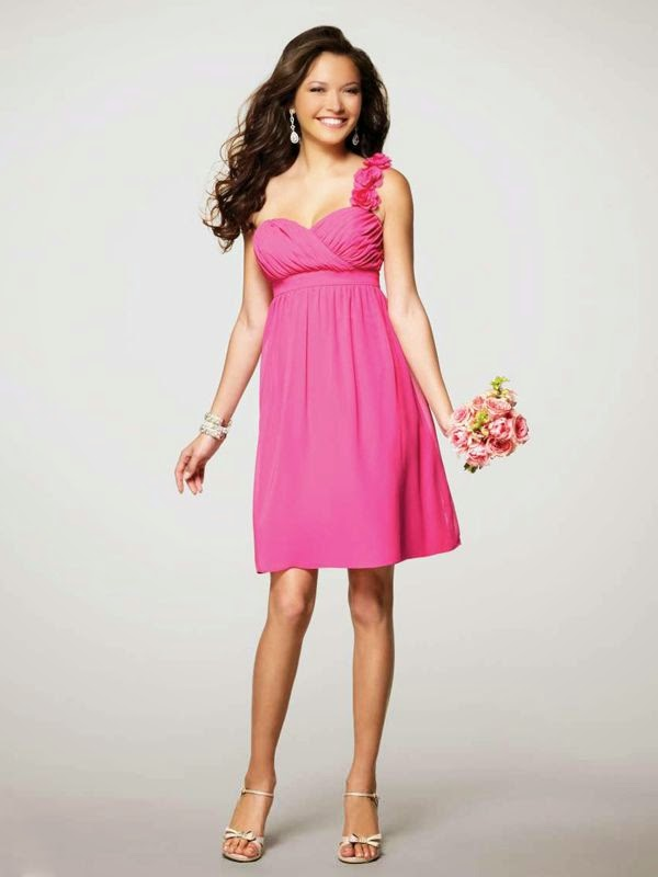 A-line One Shoulder Sleeveless Short Bridesmaids Dress