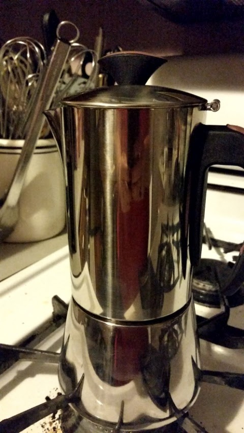 trudeau espresso maker  on stove