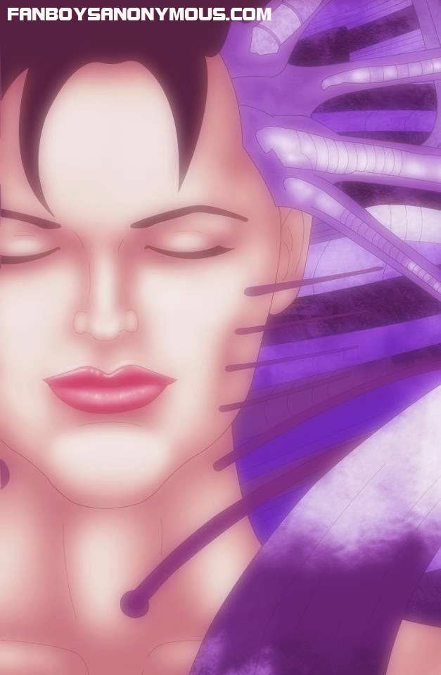Cybernetically enhanced futuristic comic character of Sage: Escape reminiscent of Aeon Flux