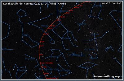 Carta de localización del C/2011 L4 (PANSTARRS)