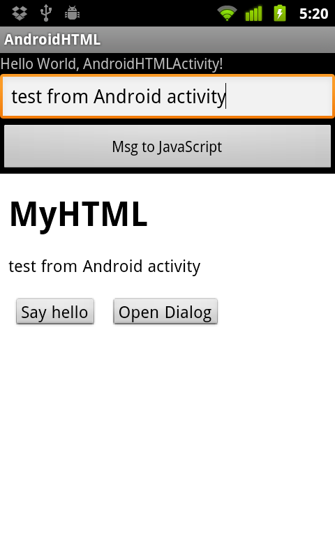 Webview android javascript