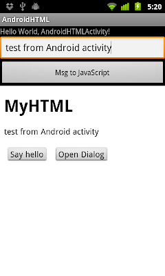 Call JavaScript inside WebView from Android activity, with parameter passed.