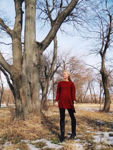 SammyDress red sweater, Cori Crooks Mexican tile earrings, Old Navy riding boots, casual outfit, relaxed outfit, winter outfit