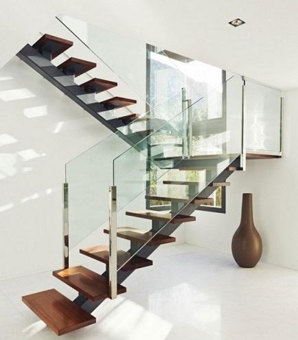 10 hermosas escaleras de madera colores en casa - Escaleras de cristal y madera ...