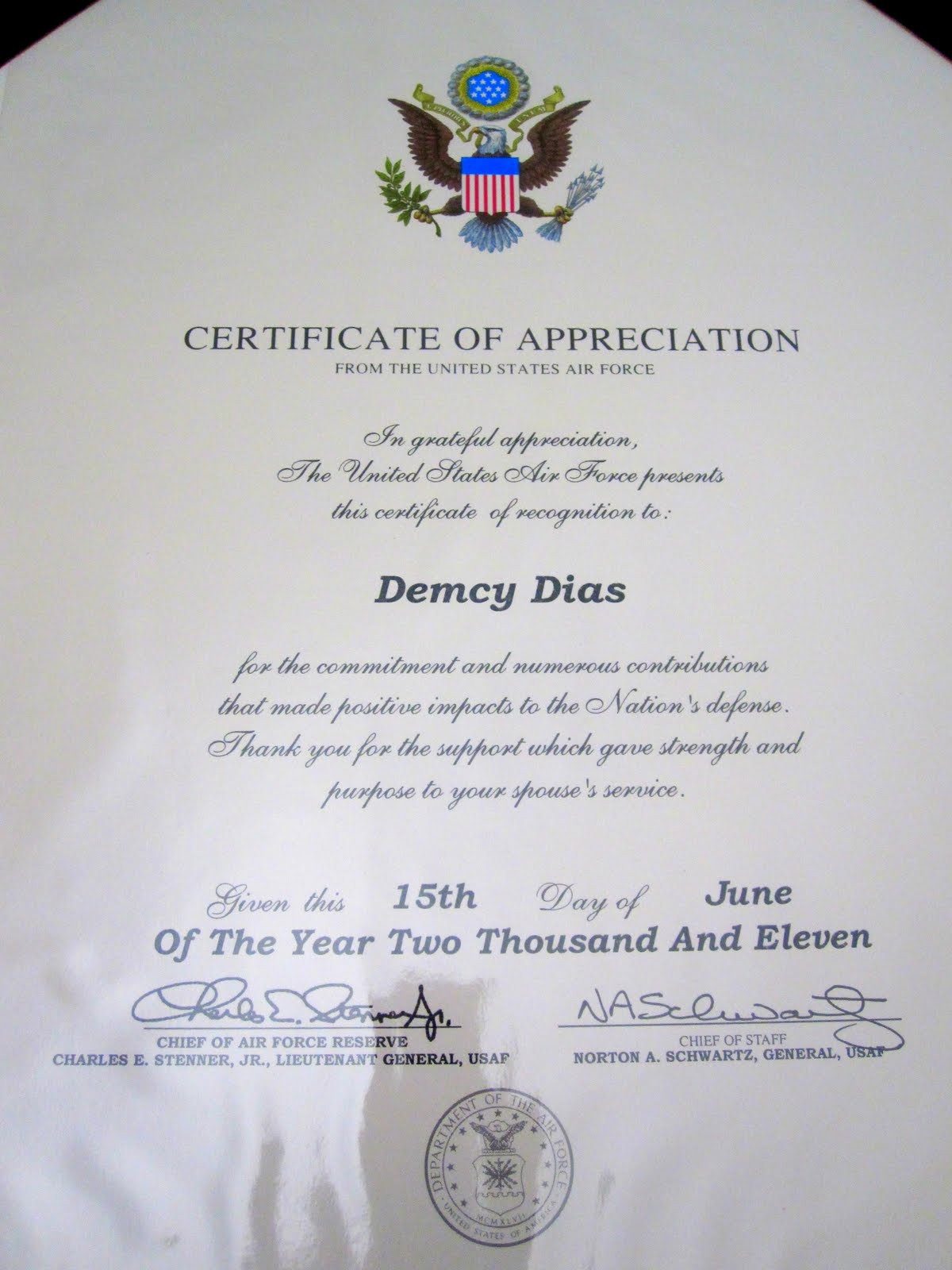 Writing certificate of appreciation for secretary just b for Air force certificate of appreciation template