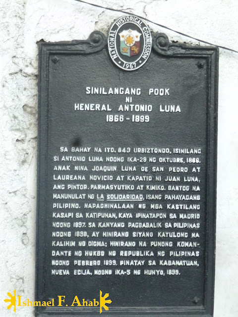 Historical Marker for Heneral Luna's house in Binondo, Manila