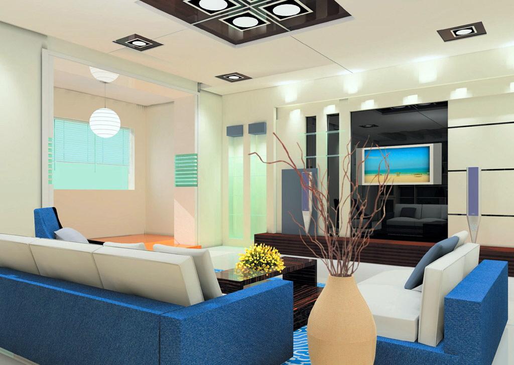Dimensi - Gambar Disain Interior Ruang Keluarga dan TV | Proyek Sipil