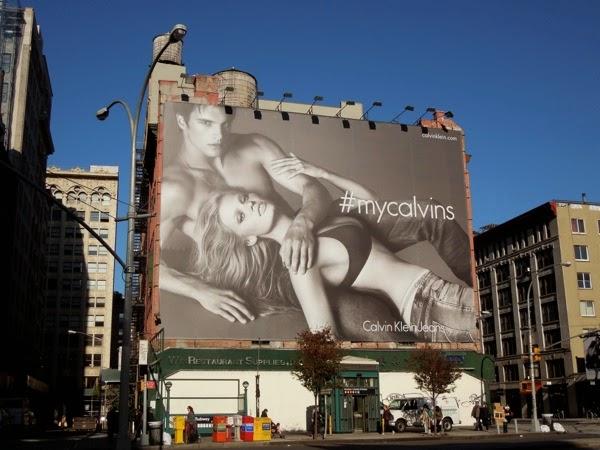 Giant #mycalvins Calvin Klein Jeans billboard NYC