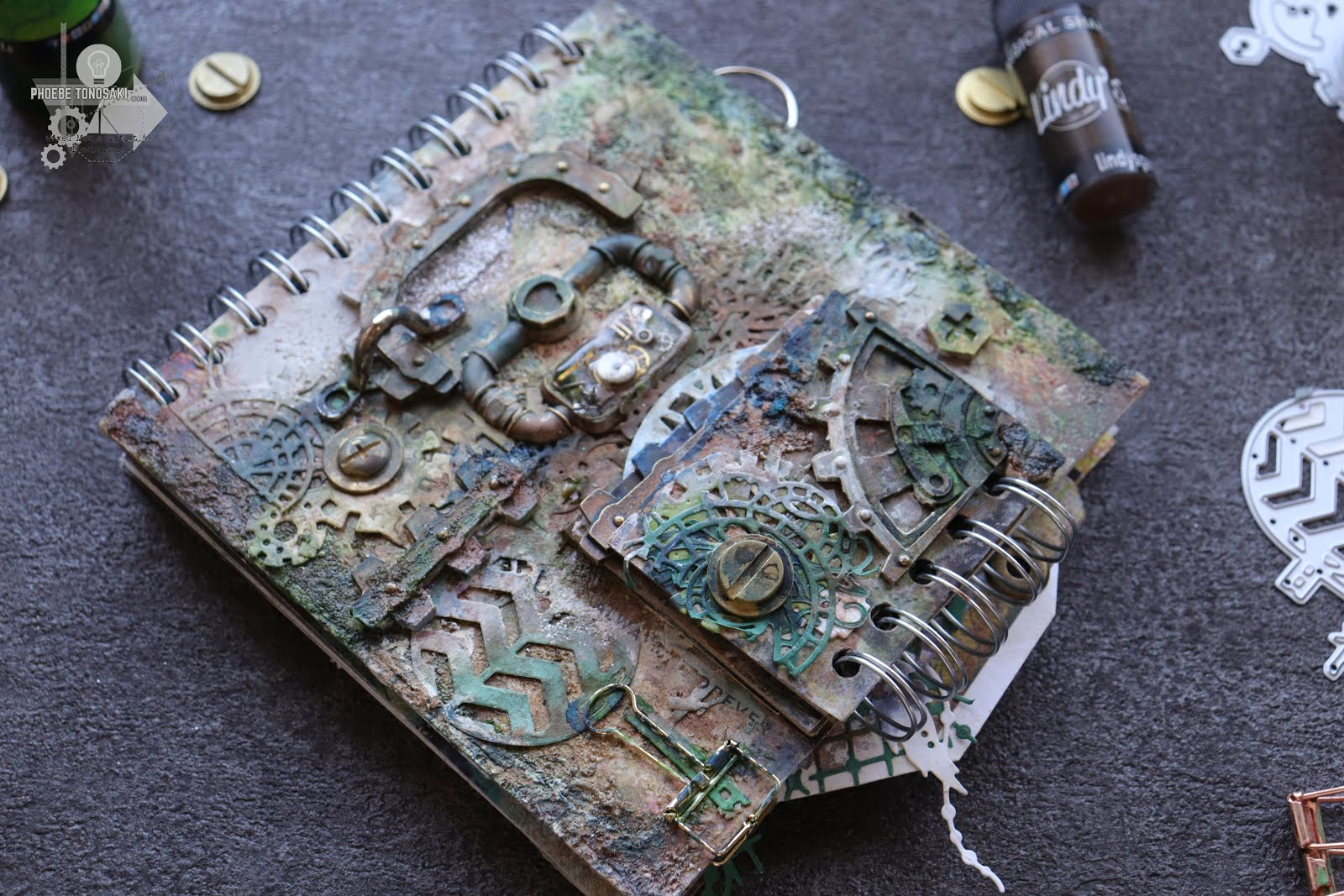 Mixed Media Grungy Moss Journal