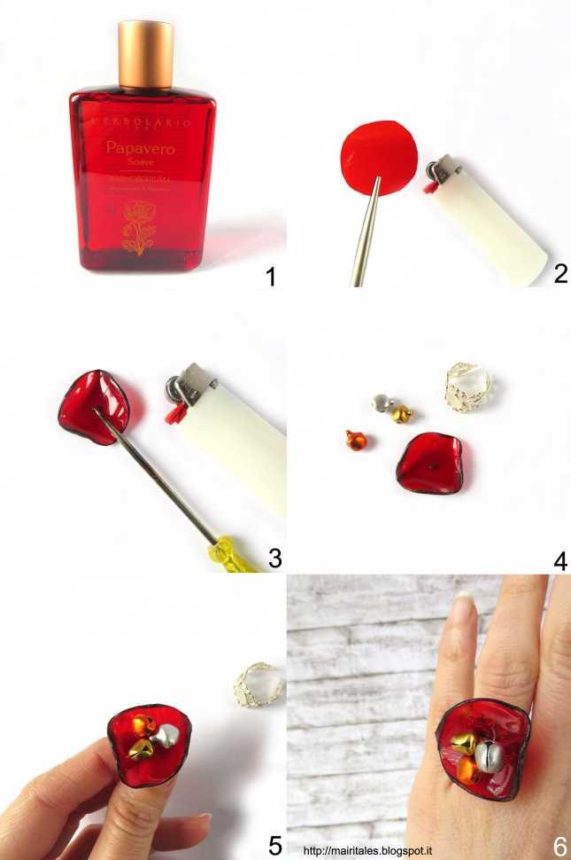 Tutorial per realizzare un anello con papavero di plastica riciclata