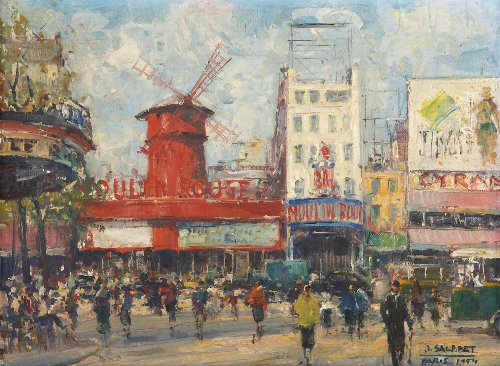 Jean Salabet A Parisian Street Scene