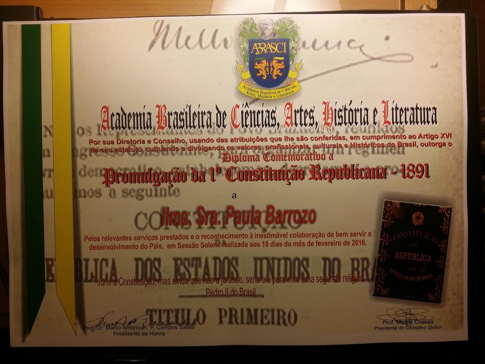 PAULA BARROZO - ABRASCI -  Diploma Comemorativo a Promulgação da 1ª Constituição Republicana em 189