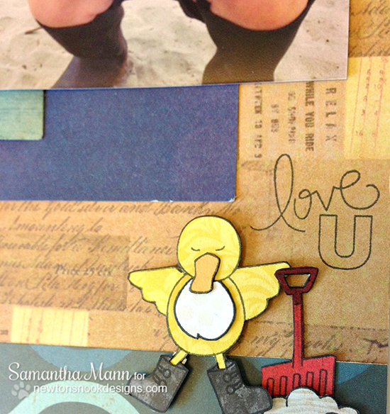 Beach Scrapbook page by Samantha Mann for Inky Paws Challenge #10  Newton's Nook Designs