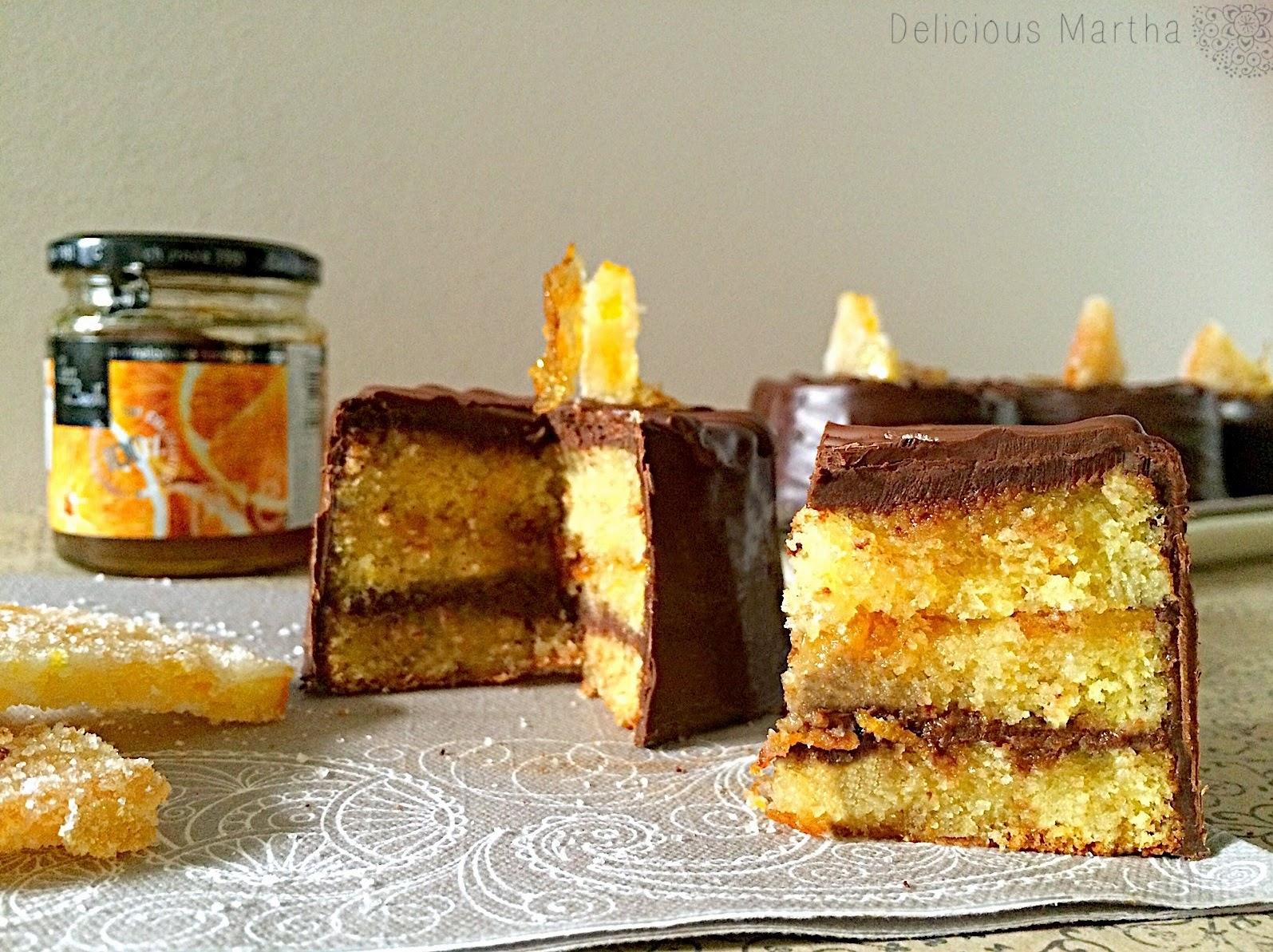 Pastel de chocolate y naranja amarga