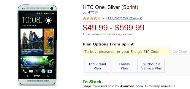 When you buy HTC One from Sprint, you can only charge $49.99 for one cellphone. Hurry up and get one for yourself.
