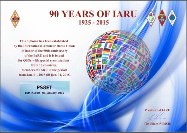 90 YEARS OF IARU - 15M # 1.590