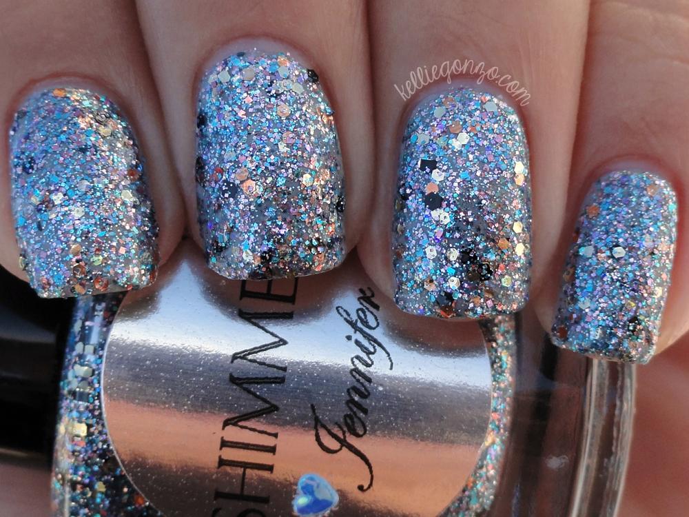 Shimmer Polish - Jennifer over Illamasqua - Raindrops