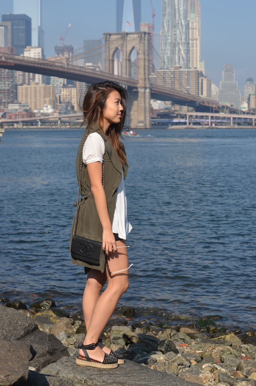 explicit affairs dumbo brooklyn outfit valentino espadrilles green vest