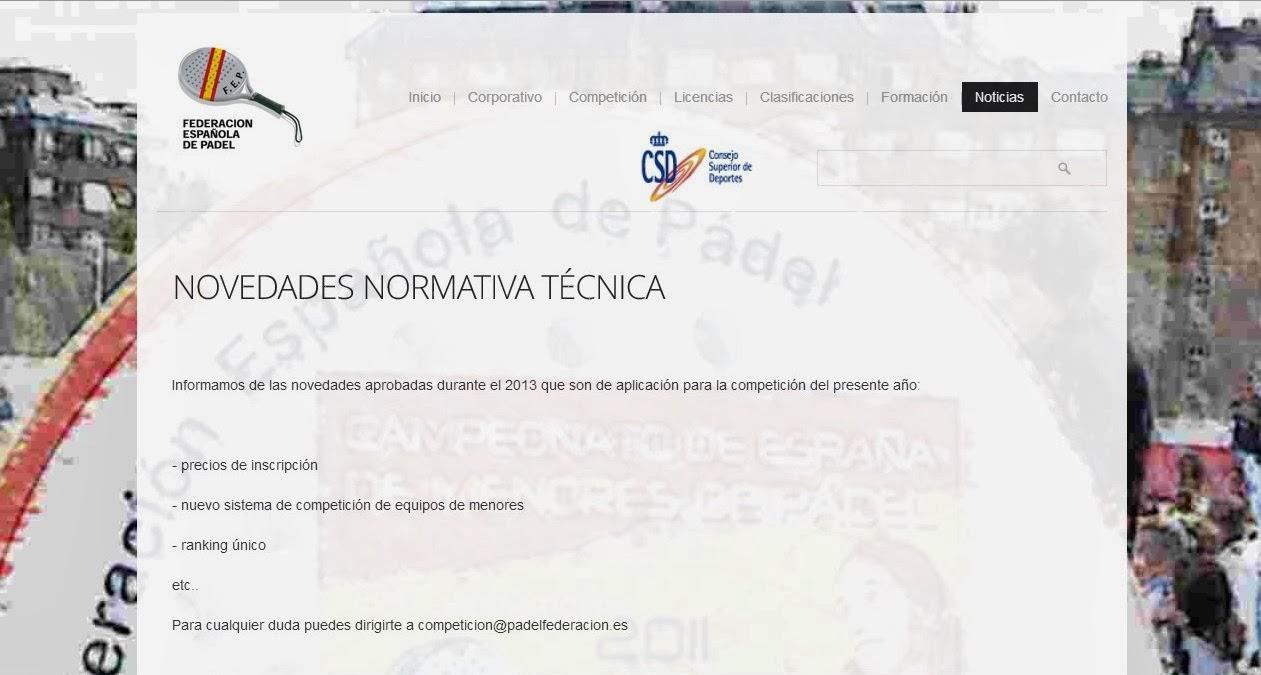 Captura de imagen de la web de la Federación Española de Pádel anunciando modificaciones en su normativa técnica